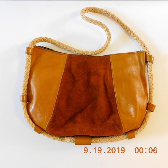 Vintage Handbags - Vintage Leather Patchwork Purse Unique Rope Strap